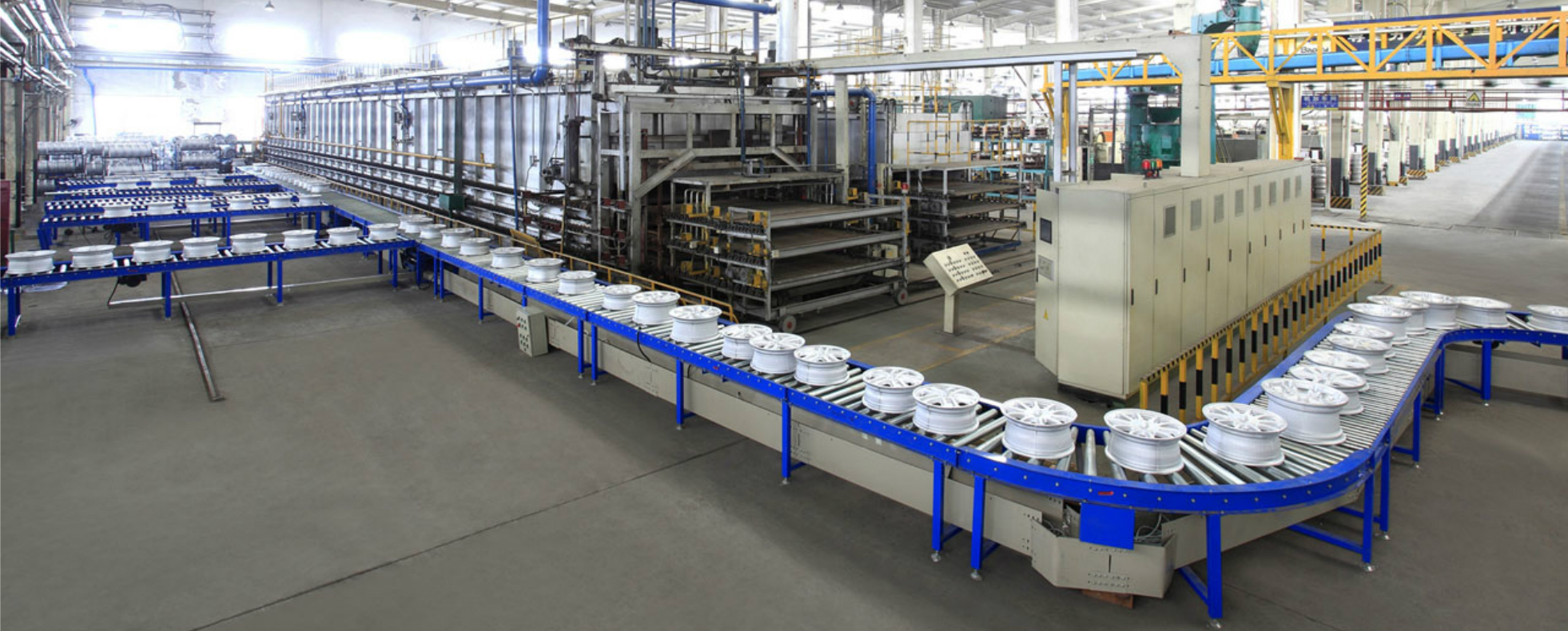 Automotive steel wheel production line for light cars, commercial cars